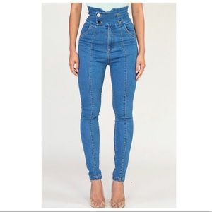 High Rise Button Skinny Jeans